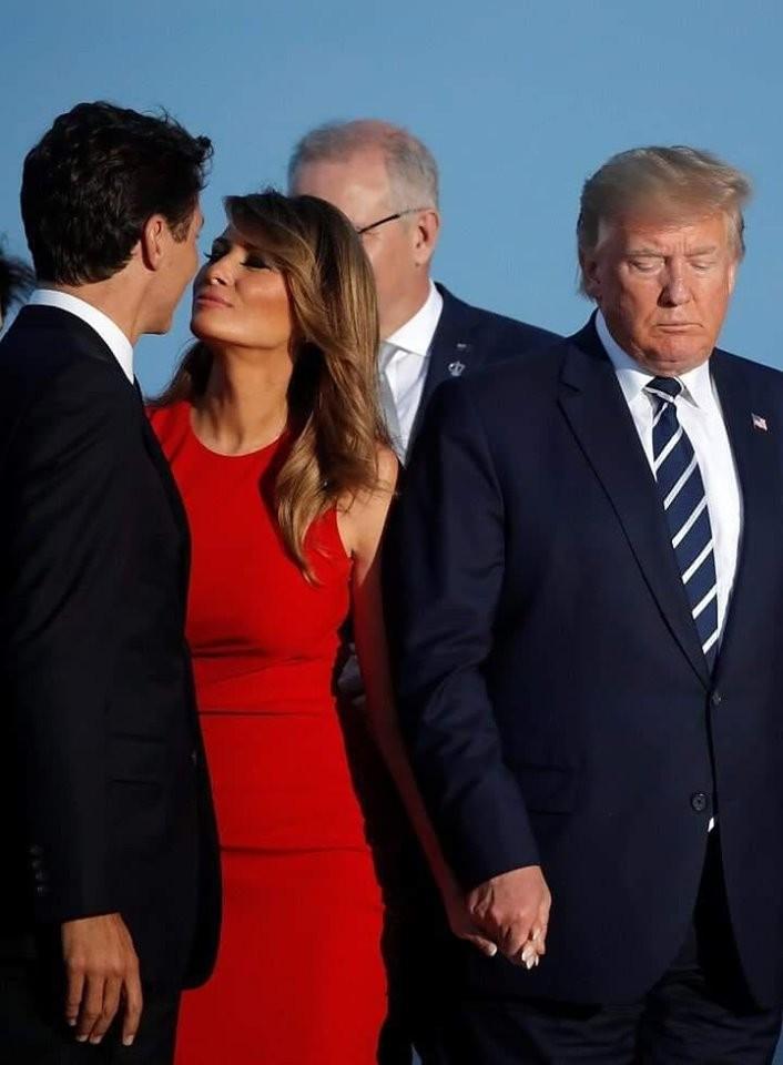 G7 liderlərinin sammitində Trampı belə öpdü-